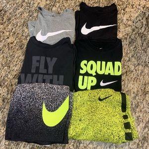 6 piece Lot kids Nike  4 T-shirts L. 2 Shorts M